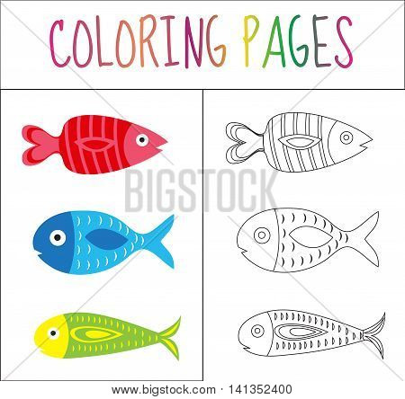 Coloring book page. Set fish. Sketch and color version. Coloring for kids. Vector illustration