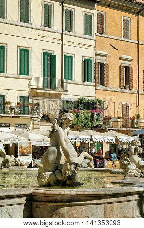 Fountain Of Neptune In Piazza Navona In Rome In Italy