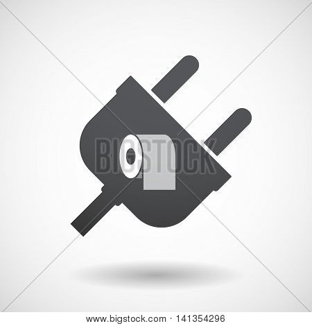 Isolated Male Plug With A Toilet Paper Roll