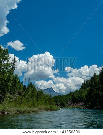 Middle fork of the Flathead River in Montana looking towards peaks in Glacier National Park