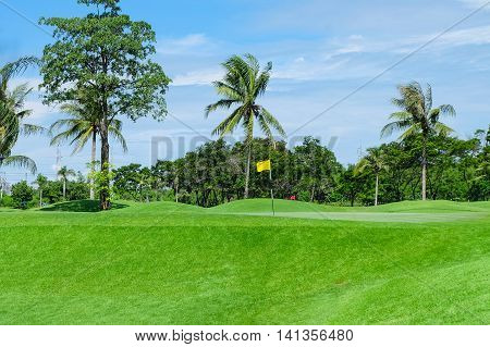 Landscape Wide green lawns with flag golf courses.
