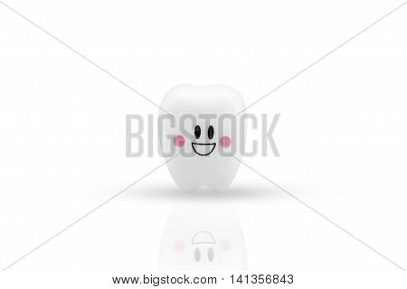 Tooth smile emotion on white background With Clipping path