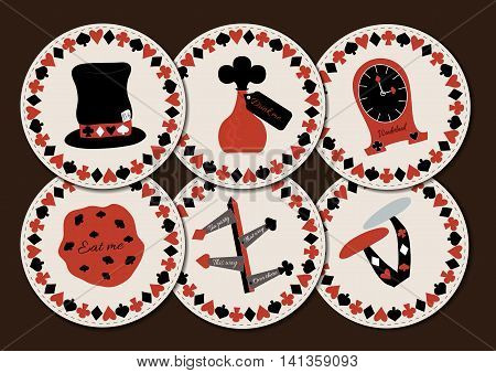 Set collection of drink coasters from Wonderland. Hatter hat drink me eat me clocks direction signs mushroom. Printable Vector Illustration for Graphic Projects Parties and the Internet.