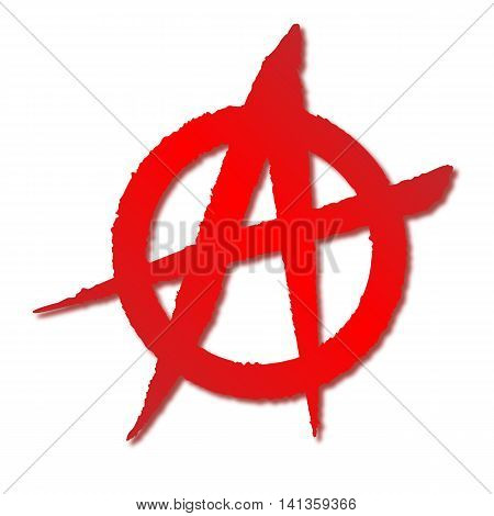A red on white rough sprayed anarchy symbol