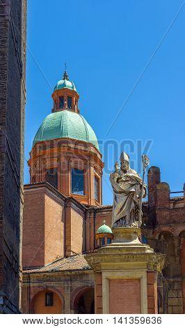 Piazza Di Porta Ravegnana In Bologna. Emilia-romagna. Italy.