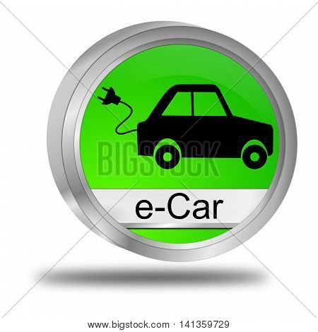 decorative green e-Car Button - 3D illustration