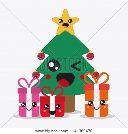 Merry Christmas and kawaii concept represented by pine tree and gifts cartoon icon. Colorfull and flat illustration