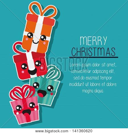 Merry Christmas and kawaii concept represented by gift cartoon icon. Colorfull and flat illustration
