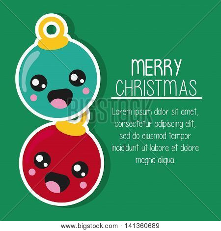 Merry Christmas and kawaii concept represented by sphere cartoon icon. Colorfull and flat illustration