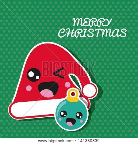 Merry Christmas and kawaii concept represented by santa hat and sphere cartoon icon. Colorfull and flat illustration
