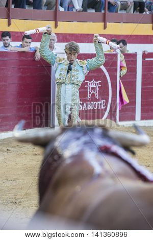 Sabiote Spain - August 23 2014: The Spanish Bullfighter Manuel Escribano putting flags during a bullfight in the Bullring of Sabiote Spain