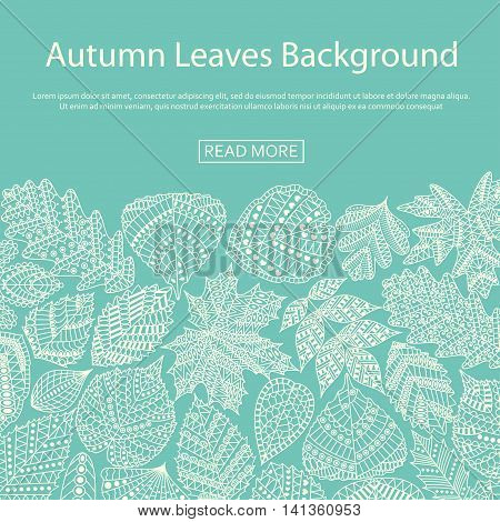Background with different tree leaves such as oak and maple, chestnut and birch, aspen and linden, poplar and ginkgo, tulip tree and sassafras, beech, hornbeam, holly. Autumn collection.