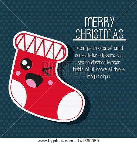 Merry Christmas and kawaii concept represented by boot cartoon icon. Colorfull and flat illustration