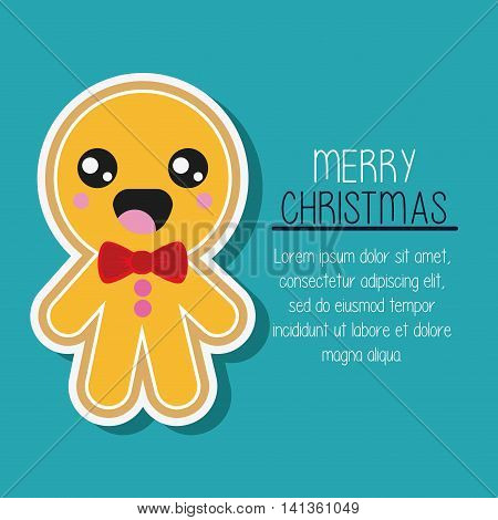 Merry Christmas and kawaii concept represented by cookie cartoon icon. Colorfull and flat illustration