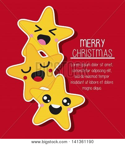 Merry Christmas and kawaii concept represented by star cartoon icon. Colorfull and flat illustration