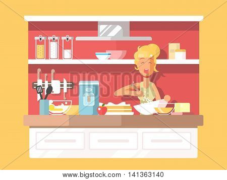 Housewife bakes cake. Cooking food on kitchen, dessert baking, vector illustration