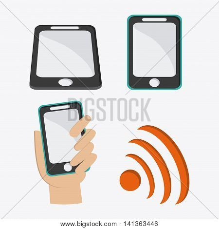 Social Network concept represented by smartphone and icon design. Colorfull and flat illustration