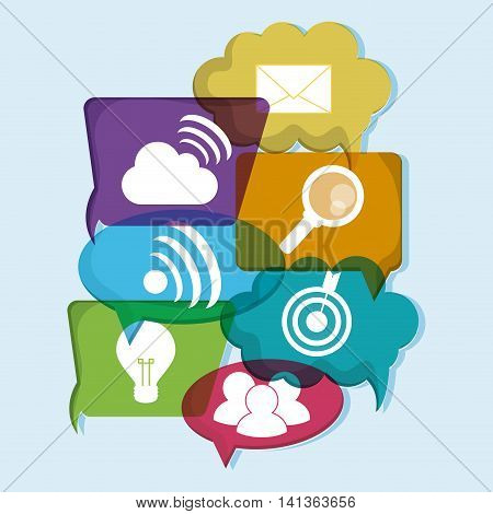 Social Network concept represented by icon set. Colorfull and flat illustration