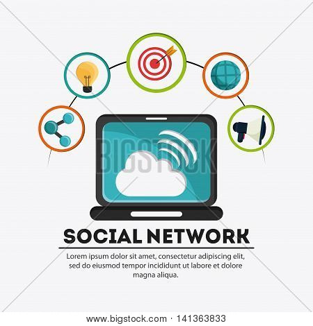 Social Network concept represented by laptop and  icon set. Colorfull and flat illustration