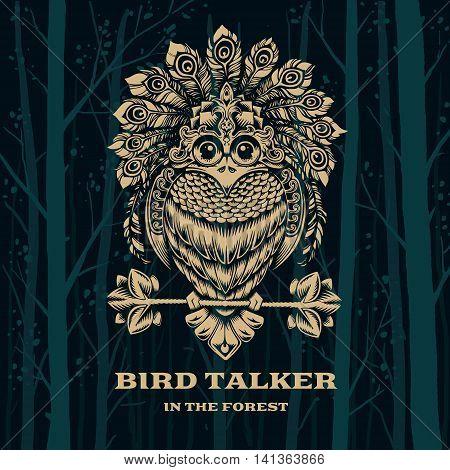 Vector Illustration Bird Talker. Decorative graphics on dark background