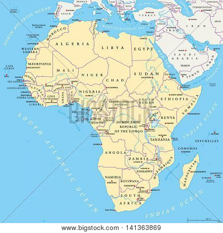 Africa Political Map Capitals Vector Photo Bigstock