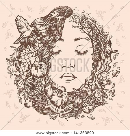 Illustration Girl as Nature. Beginning of life. The cycle of nature.