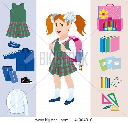 Schoolgirl with satchel behind and various school subjects