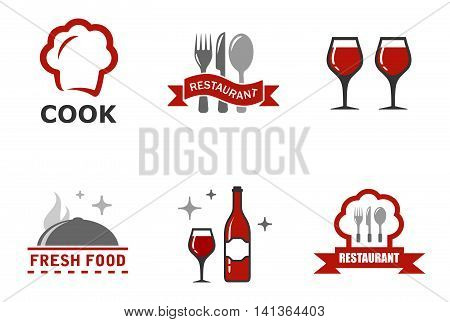 set six restaurant symbols with red accent