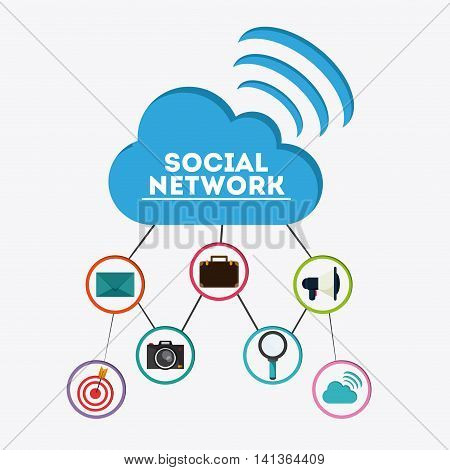 Social Network concept represented by cloud and icon set. Colorfull and flat illustration