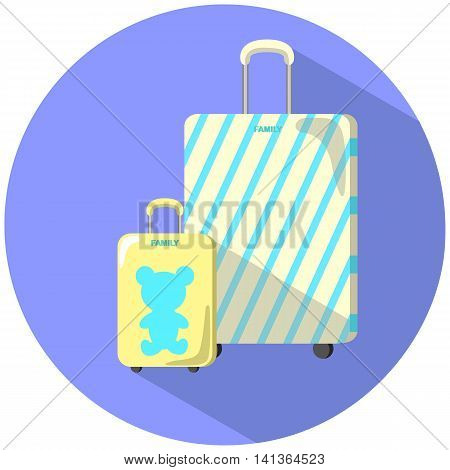 Family baggage case set flat style vector illustration adult and child suitcase baggage case with bear striped case hardside wheeled baggage case with trolley handle summer travel with kid image