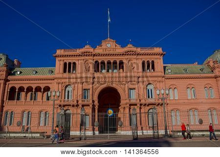 BUENOS AIRES, ARGENTINA - MAY 02, 2016: main entrance of casa rosada, name of the government house of argentina.