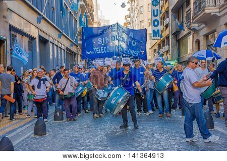 BUENOS AIRES, ARGENTINA - MAY 02, 2016: massive protest with unidentified people protesting against the public phone company.
