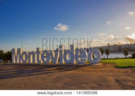 MONTEVIDEO, URUGUAY - MAY 04, 2016: montevideo written in letters with nice sunset light.