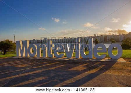 MONTEVIDEO, URUGUAY - MAY 04, 2016: nice sunset light going through the montevideo signal located in la rambla.
