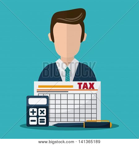 Tax and Financial item concept represented by document and avatar man icon. Colorfull and flat illustration