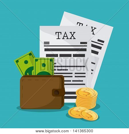Tax and Financial item concept represented by document and wallet icon. Colorfull and flat illustration