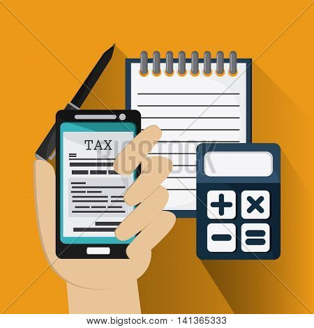 Tax and Financial item concept represented by document and smartphone icon. Colorfull and flat illustration