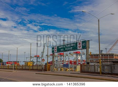 MONTEVIDEO, URUGUAY - MAY 04, 2016: the port of montevideo is one of the most important ports in uruguay and in south america.