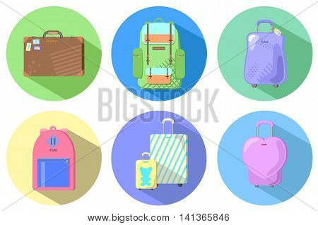 Fashion travel suitcases and backpacks flat style vector illustration set of stylish baggage case and bag summer holiday travel luggage family baggage case wheeled case heart case retro case