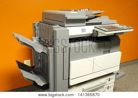 close up on copier in office for design