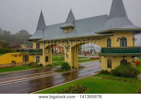 GRAMADO, BRAZIL - MAY 06, 2016: portico da entrada it is one of many entrance to the city, the building looks like a castle from the outside.