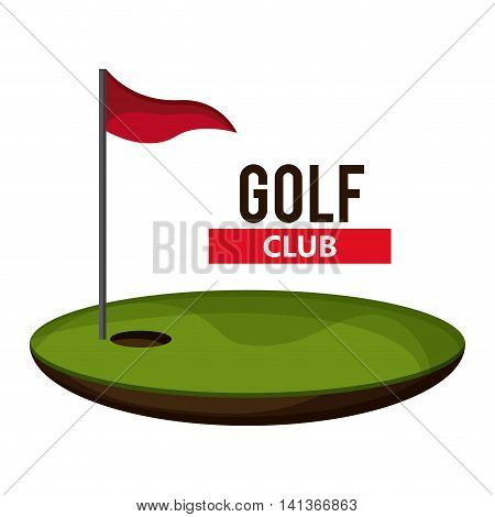 Gold sport concept represented by flag and hole icon. Colorfull and flat illustration.