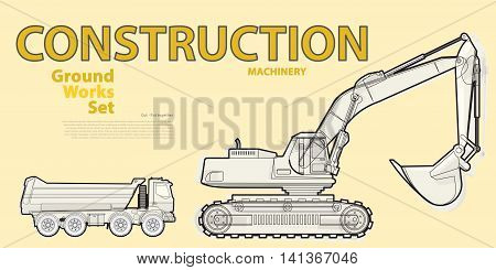 Black and white wire big set of ground works machines vehicles on yellow. Construction equipment for building. Truck, Digger, Crane, Forklift, Bagger, Mix, Extravator. Master vector illustration.