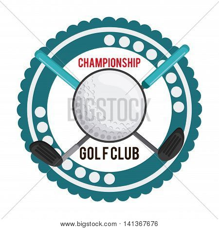 Gold sport concept represented by ball and club icon over seal stamp. Colorfull and flat illustration.