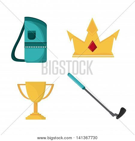 Gold sport concept represented by club trophy crown and bag icon. Colorfull and flat illustration.