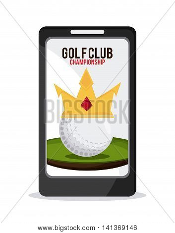 Gold sport concept represented by ball with crown inside smartphone icon. Colorfull and flat illustration.
