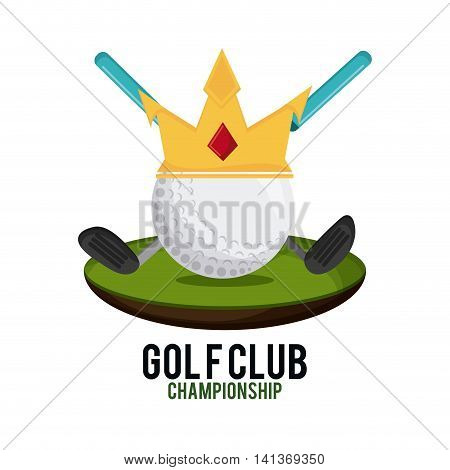 Gold sport concept represented by ball with crown and club icon . Colorfull and flat illustration.