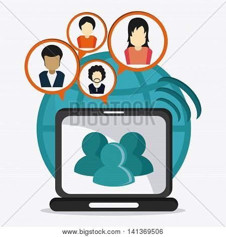 Social Network concept represented by laptop and avatar people design. Colorfull and flat illustration