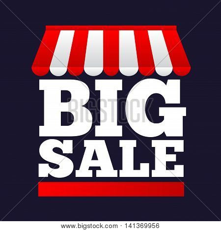 Vector stock of big sale with store canopy symbol