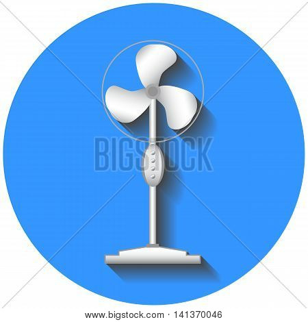 Cooling fan vector illustration in flat style. Summer heat hot weather cooling device. Air flow circulation technology. Floor standing fan in realistic style. Flat vector icon of conditioner.